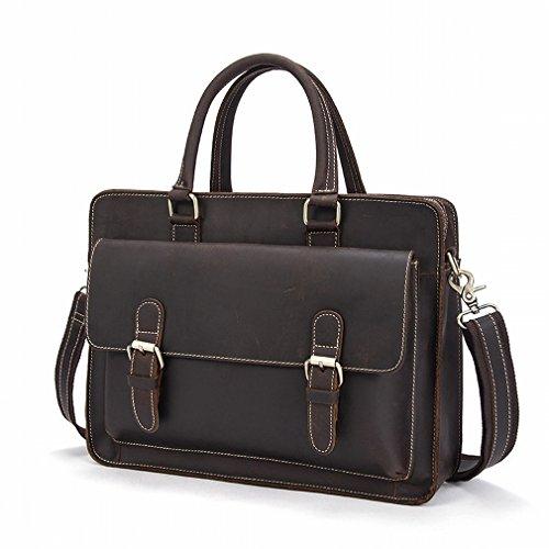 TB Männer Tragbare Aktenkoffer Retro Absatz 1 Computertasche Freizeit Business Reißverschluss Tasche Kaffee u7Ma1N