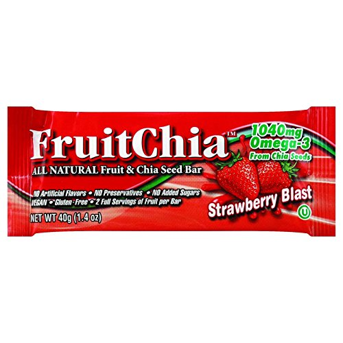 FruitChia Strawberry - All Natural / Real Fruit & Chia Seed Bar W/ Omega-3. Gluten-Free, Kosher & Vegan 2-PACK/BARS