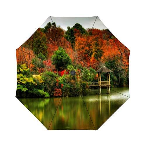 Folding Umbrella Autumn Lakeside Pavilion Travel Umbrella Windproof Automatic Compact Rain Travel Umbrella,Lightweight,Auto Open/Close (Patio Lakeside)
