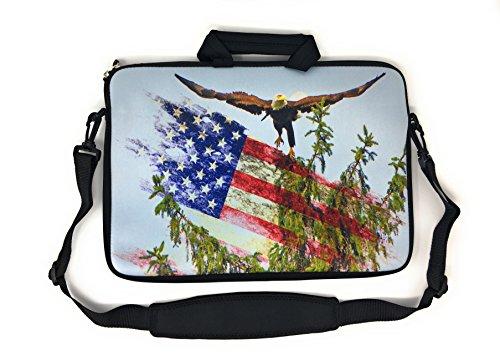 Blue Joy 15 inch universal laptop neoprene case messenger bag sleeve tablet cover shoulder strap 15.6 MacBook Notebook American Flag (15 Inch, Bald Eagle)