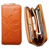 Womens Leather Wallet Embossed Flower with Credit Card Holder, Cash Slots and Smartphone Pocket [Flower - Camel]