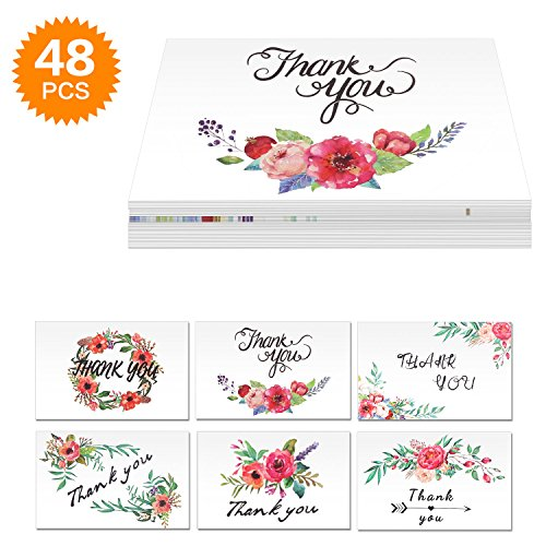 E-More Thank You Cards Floral Flower Greeting Cards Notes Bulk Thank You Card Set Graduation for Wedding Baby Shower Business Anniversary - 6 Design 48 Assorted Blank Inside with Envelopes (Flower Photo Note Card)