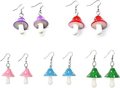 DAMLENG 4 Pairs Handmade Chic Colorful Mushroom Shape Dangle Drop Earrings Set Sweet Fresh Charm Mushroom Pendant Earrings for Women Girls Jewelry