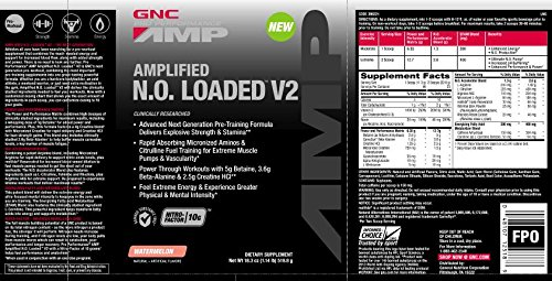 GNC Pro Performance AMP Amplified N.O. Loaded V2 Watermelon 46 Servings