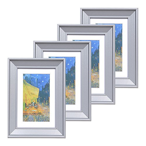 (Muzilife 4x6 Wood Picture Frame - Beveled Profile - Set of 4 - for Picture 3x5 with Mat or 4x6 Without Mat (Gray))