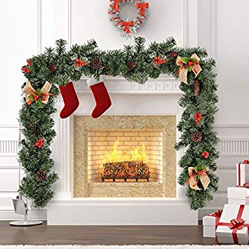 1 8m Christmas Garlands For Fireplaces Stairs Artificial Christmas Garland Decoration With Berries Pinecones And Burlap Bowknots Xmas Wreaths Tree
