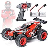 EXERCISE N PLAY Remote Control Car, 2.4Ghz 1:22 High Speed Racing Car with Four Batteries( Two Rechargeable Lithium-ion Batteries for car,Two 1.5AA Batteries for Transmitter), Kids Toys, Red