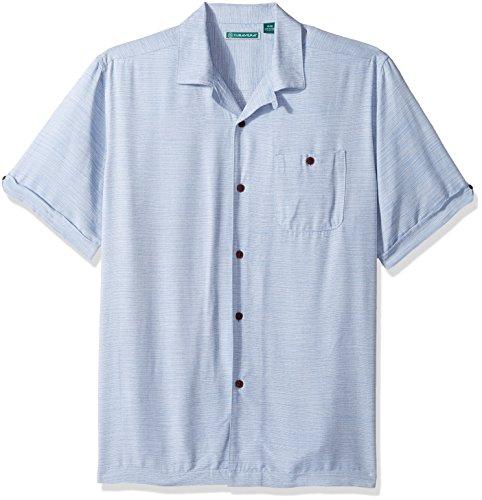 Cubavera Men's Short Sleeve Textured-Rayon Cuban Camp Shirt with Pocket, Classic Blue -