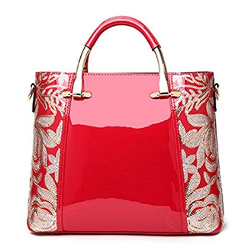 cuir Sacs Paillettes Sacs main brodées Femmes bandoulière SANSJI Mode en Sacs Sacs à Totes Rouge Mode à verni 1ZOOXwn