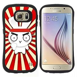 """Hypernova Slim Fit Dual Barniz Protector Caso Case Funda Para Samsung Galaxy S6 [Diseño lindo del conejo de Ninja Samurai""""]"""