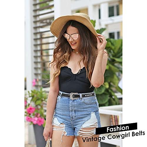 Women Skinny Rhinestone Belt For Jeans Thin Leather Waist Belts With Boho Jewelry Buckle