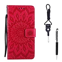 "ZTE Axon 7 Case, SsHhUu Premium PU Leather Folio Wallet [Sun Flower] Magnetic Stand Card Slot Flip Protective Slim Cover Case + Stylus Pen + Lanyard for ZTE Axon 7 / ZTE Axon 2 (5.5"") Red"