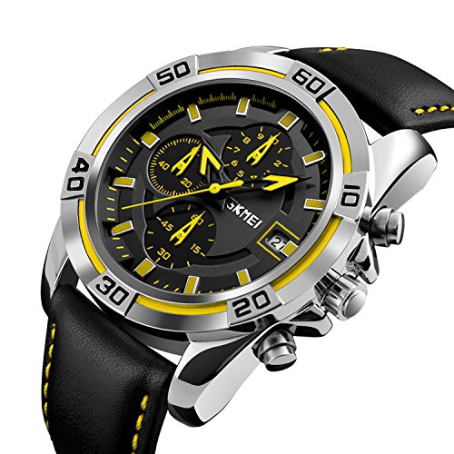 Chronograph Yellow Wrist Watch - Men's Watch Chronograph Luxury Leather Band Watches Sport Yellow Military Business Quartz Watch