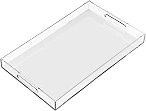 Clear Sturdy Acrylic Serving Tray with Handles-12x20Inch-Serving Coffee,Appetizer,Breakfast,Butler-Kitchen Countertop Tray-Makeup Drawer Organizer-Vanity Table Tray-Ottoman Tray-Decorative Tray