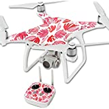MightySkins Protective Vinyl Skin Decal for DJI Phantom 4 Quadcopter Drone wrap cover sticker skins Red Petals