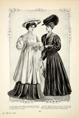 [1905 Print Delineator Edwardian Ladies Style Art Fashion Coat Satin Redingotes - Original Halftone Print] (Costume Redingote)