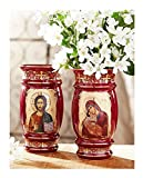 Religious Gift Ceramic Icon Decorative Vase 2 Sided Virgin Mary Theotokos and Christ The Teacher 6 1/2 Inch