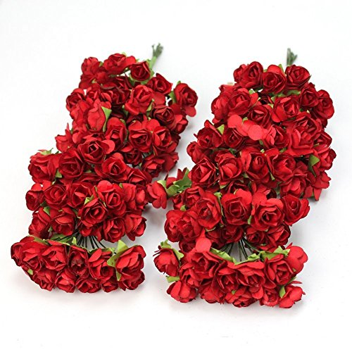 iful Artificial Paper Rose Flower Wedding Card Embellishment (Red) (Beautiful Rose Flowers)