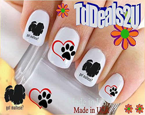 Maltese #4 Got Maltese? - Dog Breed Nail Decals - WaterSlide Nail Art Decals - Highest Quality! Made in USA (Got Maltese)