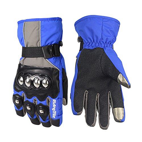 UPBIKE Alloy Steel Knuckle Motorcycle Waterproof Gloves Motorbike Racing Winter Skiing Snowboard Gloves (XL, BLUE GREY)