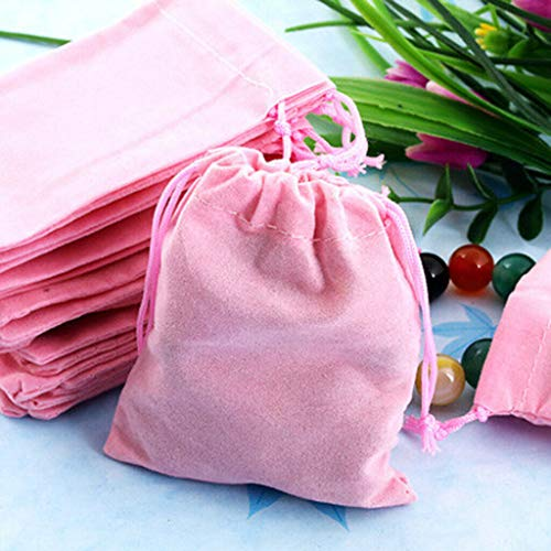 Signature Drawstring Handbag - BROSCO 50pcs Glossy Velvet Jewelry Drawstring Gift Bag Pouches Wedding Birthday Favor | Color - Pink