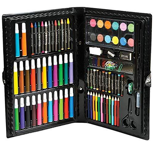 Deluxe Master Art Supplies Set for Kids - Perfect Beginner Artist Coloring and Drawing Kit - 101 Piece Art Set in Black Case Includes Watercolor, Crayons, Colored Markers, Color Pencils & More By N ()