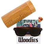 Wood Sunglasses with Polarized Lens in Bamboo Tube Packaging Woodies 9 COMFORTABLE: Handmade from REAL Walnut Wood EXTRAS: Includes FREE Bamboo Tube, Lens Cloth, and Wood Guitar Pick PROTECTION: Polarized Lenses Provide 100% UVA/UVB Protection