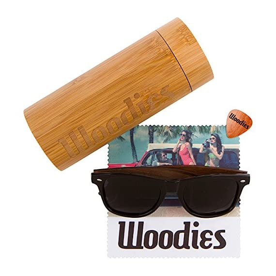 Wood Sunglasses with Polarized Lens in Bamboo Tube Packaging Woodies 2 COMFORTABLE: Handmade from REAL Walnut Wood EXTRAS: Includes FREE Bamboo Tube, Lens Cloth, and Wood Guitar Pick PROTECTION: Polarized Lenses Provide 100% UVA/UVB Protection