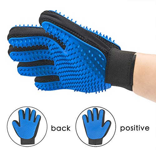 Two-Sided Pet Grooming Glove - Efficient Pet Hair Remover Mitt - Gentle Deshedding Brush Glove- Enhanced Five Finger Design - Perfect for Dog & Cat with Long & Short Fur Cleaning Brush