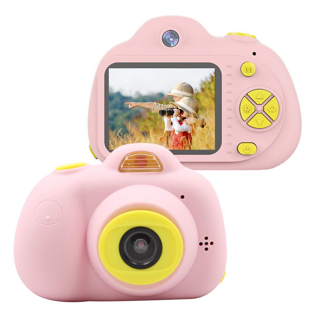 Tueker Kids Camera Toys Gifts for 4~8 Years Old Girls, Shockproof Kids Video Camera & Camcorder with Soft Silicone Shell for Outdoor Play, Pink