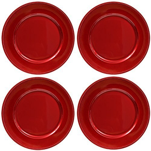 Plate Chargers Set of 4 Red Beaded Rim Round Holiday Table Decoration Heavy-duty Plastic Dinner Party Wedding (Christmas Chargers)