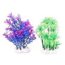 uxcell® Plastic Aquarium Fish Tank Artificial Coconut Tree Water Grass Plants Decor 2 in 1