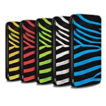 STUFF4 PU Leather Wallet Flip Case/Cover for Apple iPhone 4/4S / Pack 5pcs Design / Zebra Animal Skin/Print Collection