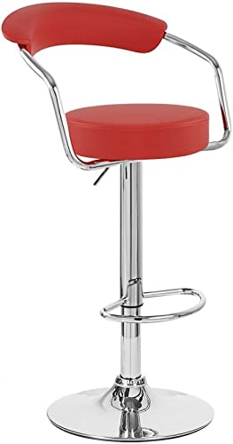 Zool Contemporary Adjustable Faux Leather Barstool – Cherry Red