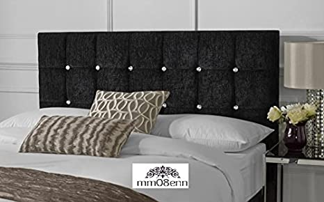 Luxurious upholstered Chenille Fabric Headboard 20 High Choice of Matching Buttons /& Diamante 3FT Crystal Diamante, Black