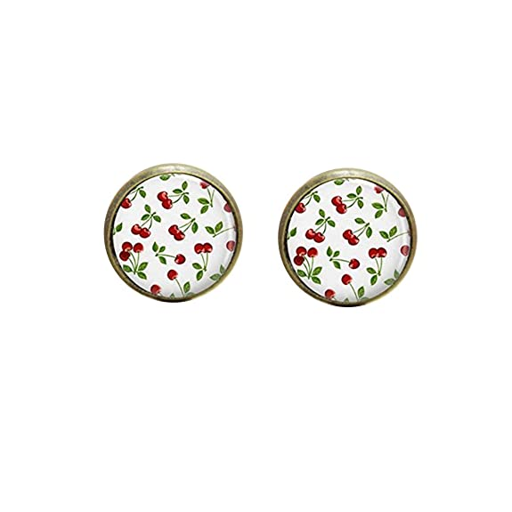 Vintage Style Jewelry, Retro Jewelry Cherry earring Rockabilly Jewelry Red Cherries Art earring Red print glass earring $3.75 AT vintagedancer.com