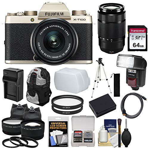 Fujifilm X-T100 Digital Camera & 15-45mm XC OIS PZ (Champagne Gold) & 50-230mm Lens + 64GB Card + Battery + Charger + Flash + Backpack + 2 Lens Kit