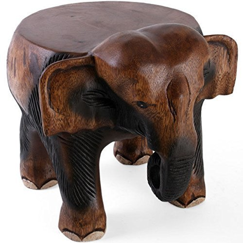 Beautiful Hand Carved Acacia Wooden Elephant Small Table-Stool-Plant Pot Stand Hunky Dory Gifts