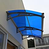 Window Awning Outdoor Polycarbonate Front Door Patio Cover Garden Canopy, Gray Blackets Blue Sheet, 1 Unit(55''Width / 50''Depth), PC1270