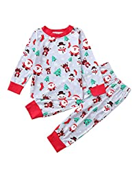 AMSKY Sunflower Baby Outfit,Toddler Baby Boys Girls Christmas Long Sleeve Santa Print Tops+Pants Outfit,Baby Girls' Skirts, Skooters & Skorts,Gray,120