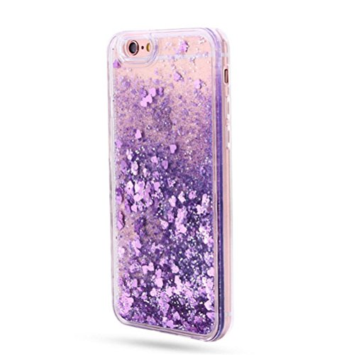 Fuzzy Green Limited iPhone 7 Case,Stylish Creative Korean Love Hearts Quicksand Liquid Case Soft TPU Frame Hard Case for iPhone 7 4.7 Inch - Purple - Medium Dark Green Hard