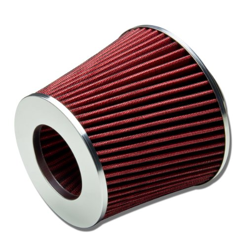 "3"" Inlet x 6"" Air Intake Chrome Open Top Cone Air Filter (Red)"