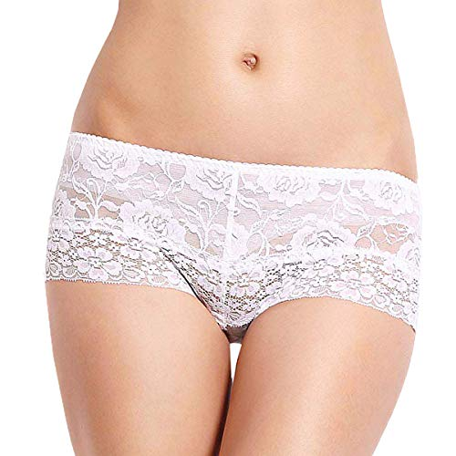 Eve's temptation Women Lily Everyday Mid-Waist Panties Lace Slimming Tummy Control Underwear Full Coverage Boyshorts-White Medium