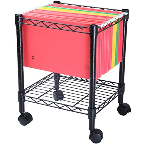 Single Pedestal Roll - Finnhomy Premium 1-Tier Metal Rolling File Cart for Legal Size Folder, Black