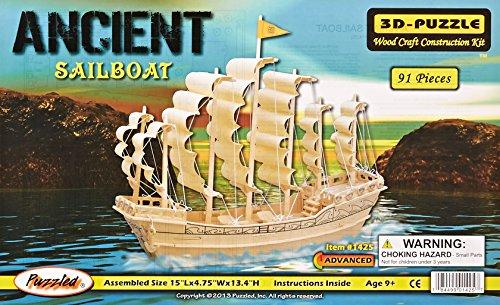 (Puzzled, Inc. 3D Natural Wood Puzzle - Ancient Sailboat)