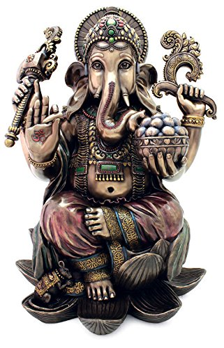 Top Collection Large Ganesh on Lotus Pedestal Statue- Ganesha Lord of Success and Destroyer of Evil Sculpture in Premium Cold Cast Bronze - 18-Inch Collectible Hindu Elephant - Lotus Pedestal