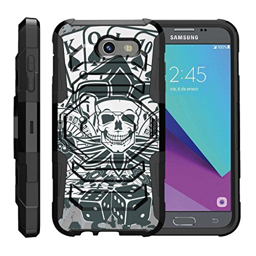 TurtleArmor | Compatible with Samsung Galaxy J3 Emerge Case | J3 (2017) [Octo Guard] Hard Reinforced Impact Hybrid Cover Belt Clip Holster Tough Kickstand Cool Designs - Joker Skull