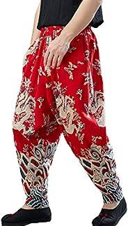 Men's Hippie Drop Crotch Cotton Linen Jogger Pants with Dragon Print Elastic W