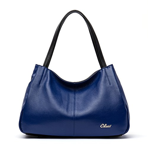 Cluci Leather Handbags Designer Tote Purse Satchel Shoulder Bag for Women Blue (Blue Leather Handbags)