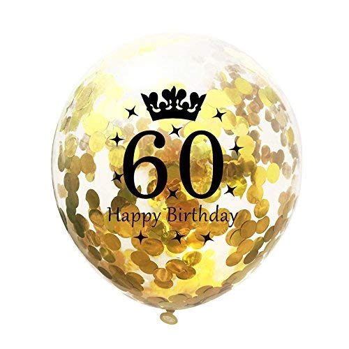 10pcs Gold Confetti Balloons,12 inches Happy Birthday Sign Party Balloons with Golden Rose Paper Confetti for 60th Anniversary Birthday Party]()